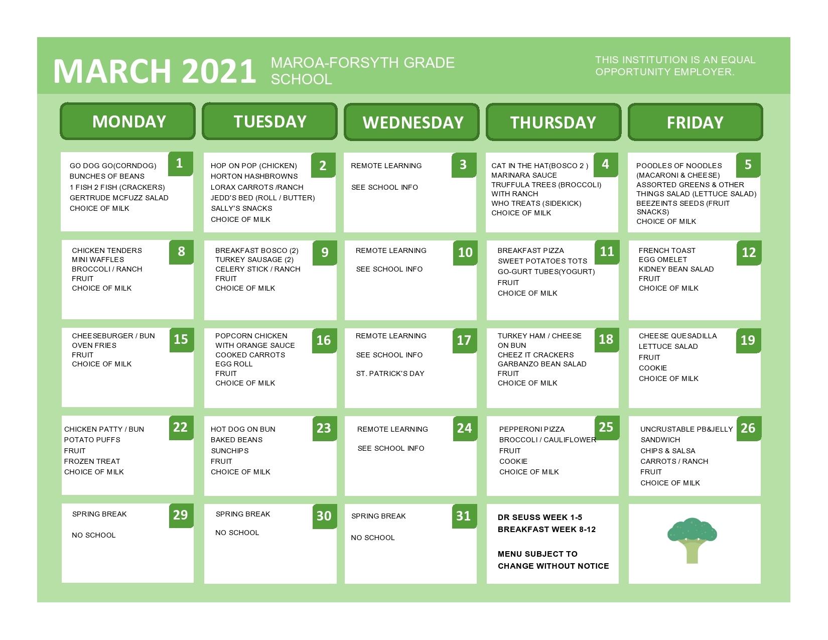 march grade school menu