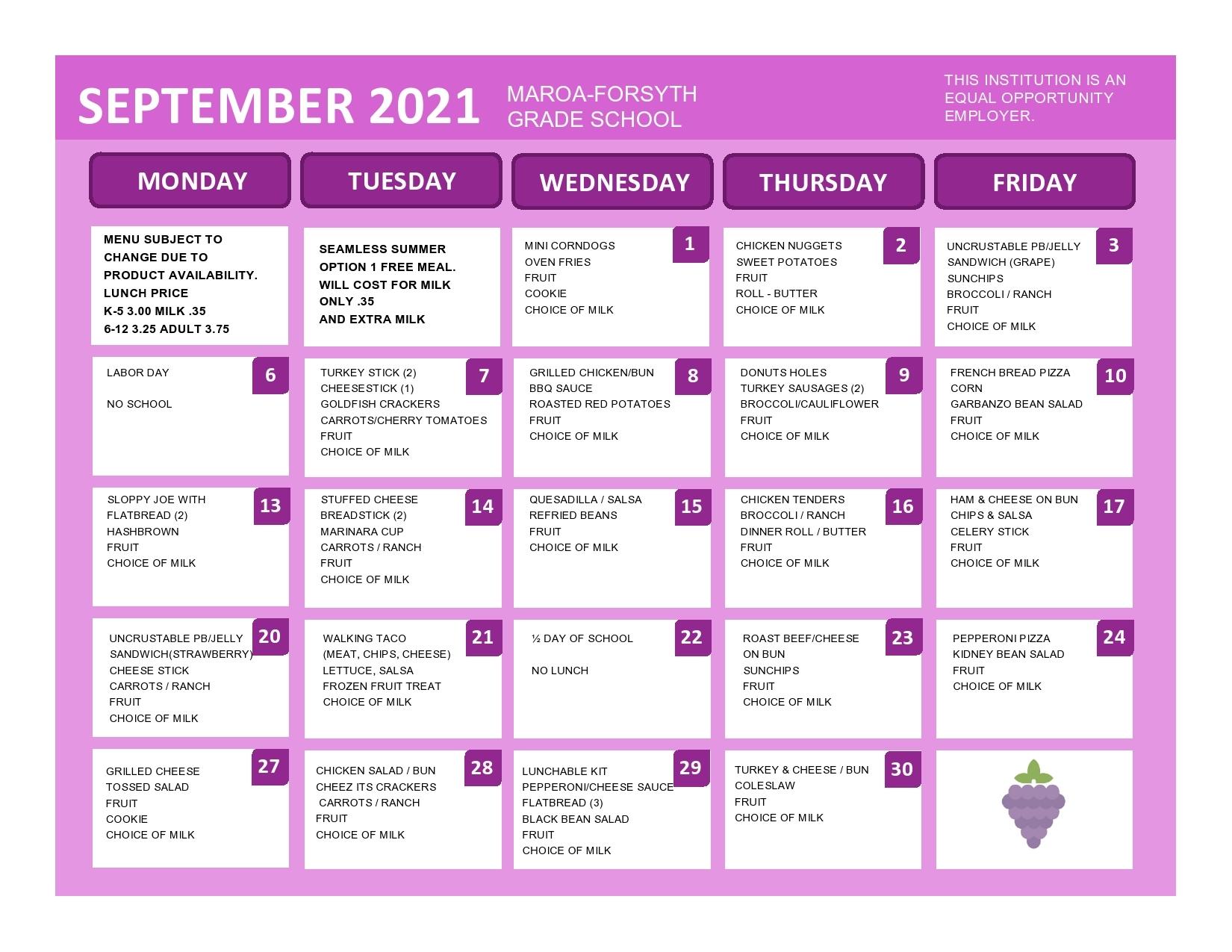 September 2021 Grade School lunch menu