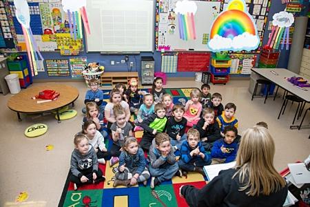 Grade School Students Listening