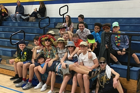Students dressed up in beach wear for the volleyball game.